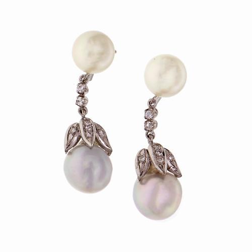 Vintage 1950 Cultured Pearl Dangle Earrings 14k White Gold Diamond