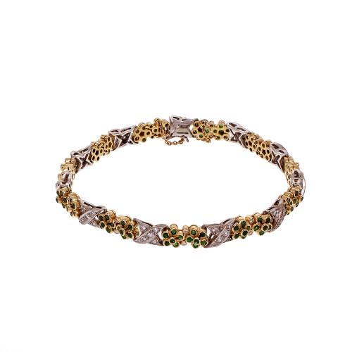 "Emerald Diamond ""X"" Design Bracelet 18k Yellow & White Gold"