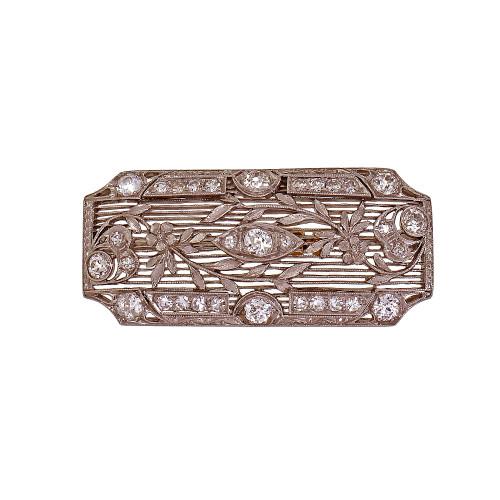 Art Deco 1925 Filigree Diamond Pin Platinum Old European Cut