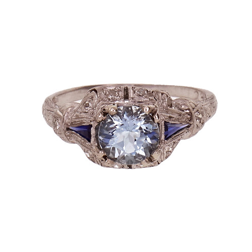 Vintage Aqua Sapphire Diamond Engagement Ring