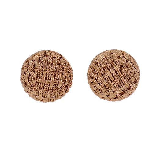 Vintage 1960 Button Earrings 18k Yellow Gold