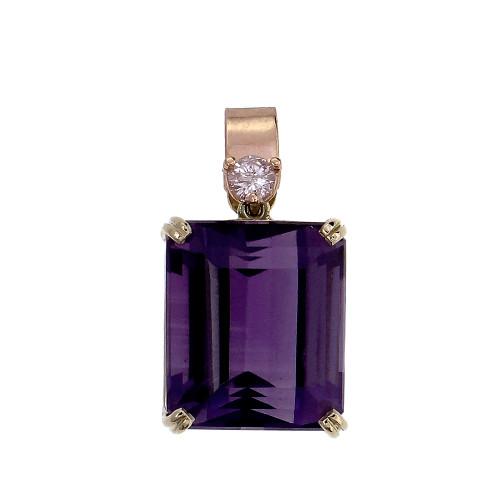 Peter Suchy 11.96ct Emerald Cut Amethyst Pendant 14k Diamond