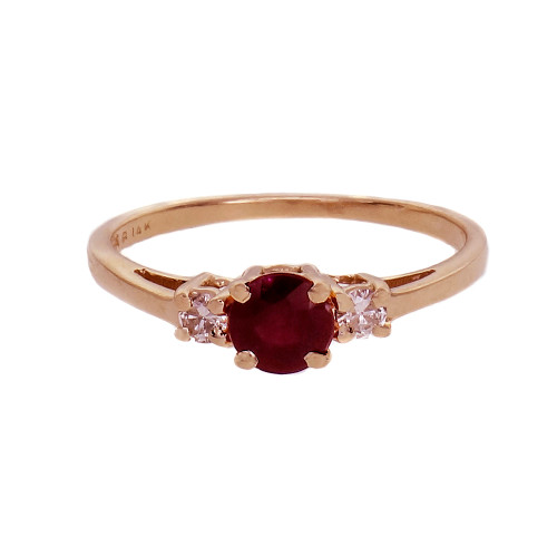 0.64ct Ruby Diamond Engagement Ring 14k Yellow Gold
