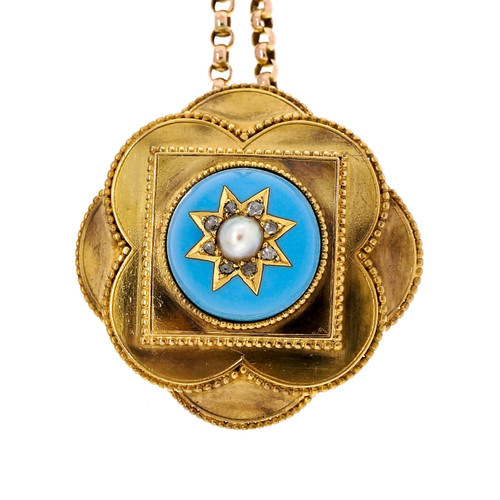 Antique Georgian 15k Gold Blue Enamel 1830 Pearl Rose Cut Diamond Pendant