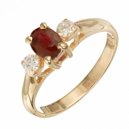 EGL Certified .76 Carat Ruby Diamond 14k Yellow Gold Ring