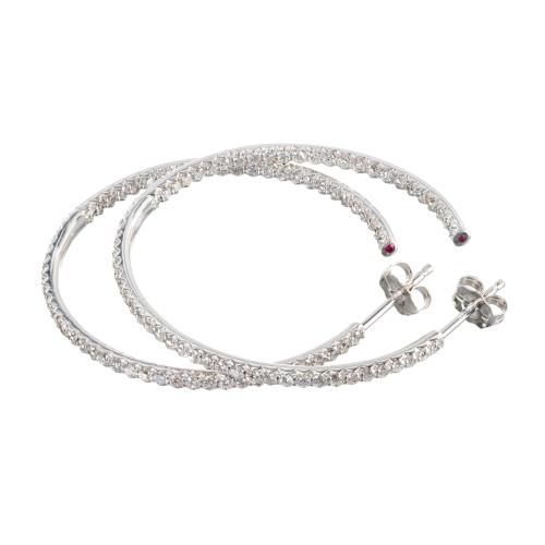 Roberto Coin 1.51 Carat Diamond Ruby 18k  White Gold Hoop Earrings