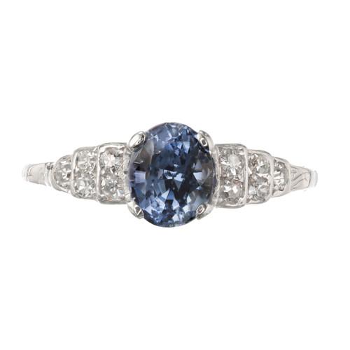GIA Certified 1.15 Carat Sapphire Diamond Platinum Engagement Ring