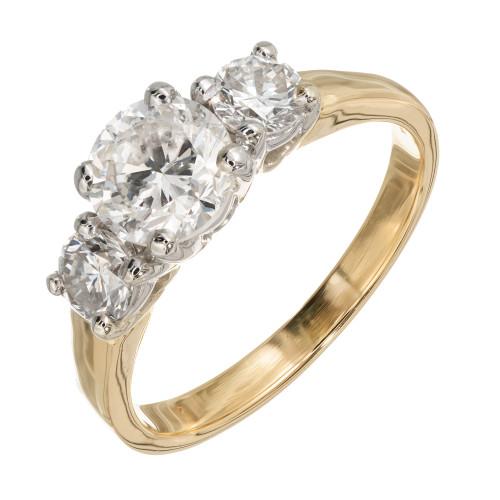 EGL Certified 1.35 Carat Diamond Yellow Gold Three-Stone Engagement Ring