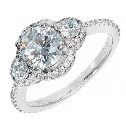 Estate 1.02ct Diamond Three Stone Halo Ring 18k White Gold