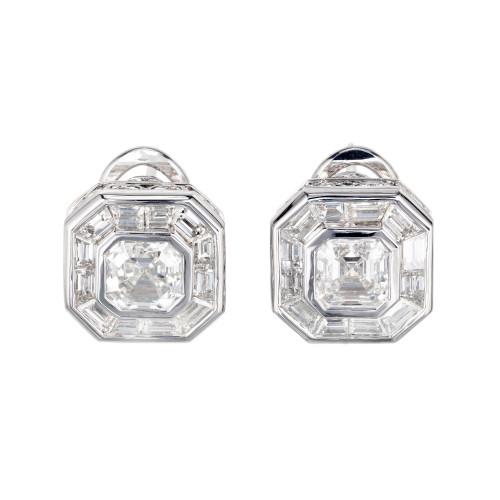 Peter Suchy GIA Certified 2.04 Carat Diamond Platinum Earrings