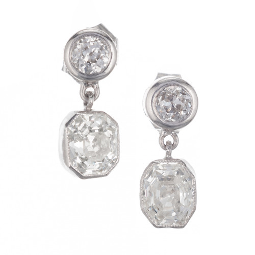 Peter Suchy GIA Certified 1.87 Carat Diamond Platinum Dangle Earrings