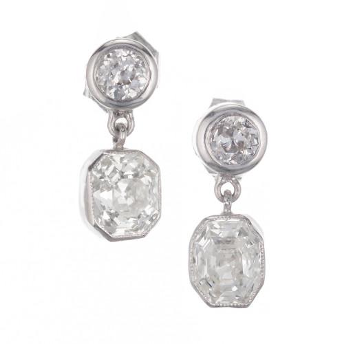 Peter Suchy GIA Certified 1.87 Carat Diamond Platinum Dangle Earrings
