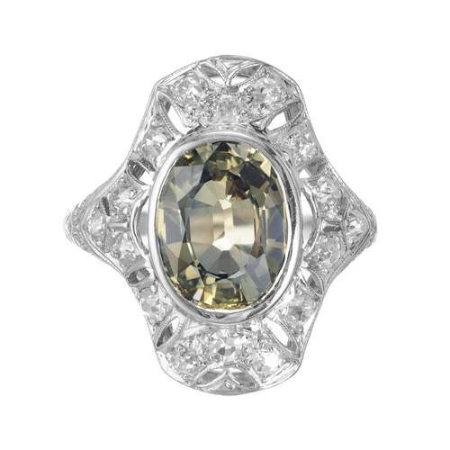 GIA Certified 2.83 Carat Oval Green Sapphire Diamond Art Deco White Gold Ring