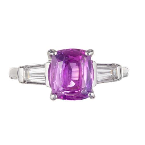 Peter Suchy AGL Certified 2.67 Carat Pink Sapphire Diamond Platinum Ring