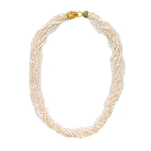 Dragon Head Multi Strand Pearl Emerald Ruby Diamond Gold Necklace