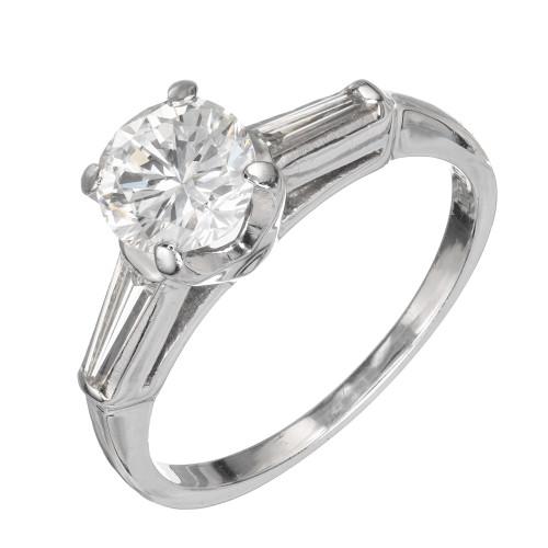 Vintage 1950 Engagement Ring 1.03ct Transitional Platinum Diamond Ring