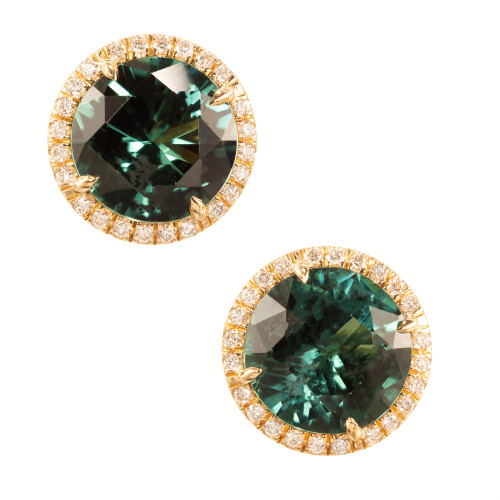 Peter Suchy 7.57 Carats Tourmaline Diamond 18k Yellow Gold Halo Earrings