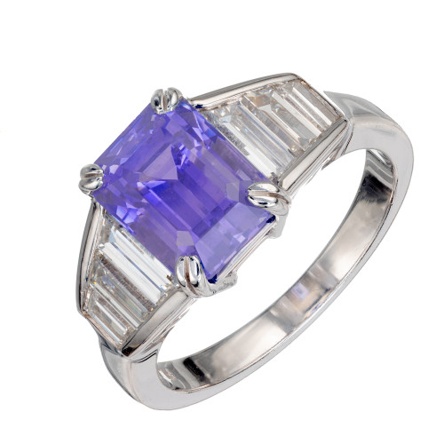 GIA Certified 3.67 Carat Violet Blue Sapphire Diamond Platinum Engagement Ring