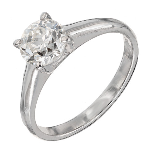 GIA Certified .99 Carat Diamond Platinum Solitaire  Engagement Ring