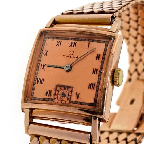 Retro Art Deco 1940 Omega 14k Pink Gold Red Numbers 17 Jewel Men's Ladies Watch