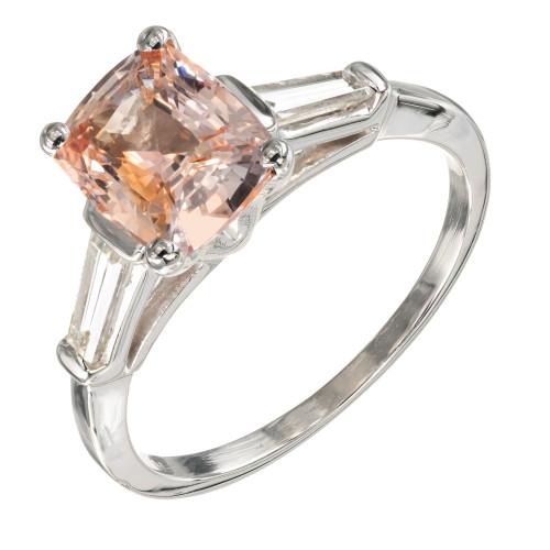 GIA Certified 2.07 Carat Sapphire Diamond Platinum Three-Stone Engagement Ring