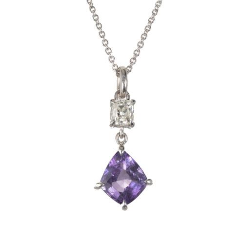 Peter Suchy GIA Certified 3.18 Carat Sapphire Diamond Platinum Pendant Necklace