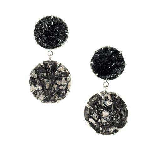 Peter Suchy 43.13 Carat Black Tourmaline 14k White Gold Dangle Earrings