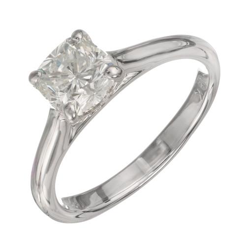 GIA Certified 1.10 Carat Diamond White Gold Engagement Ring