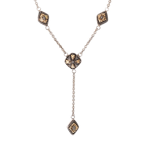 John Hardy Lariat Necklace Silver 18kt  Yellow Gold