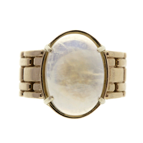 Vintage 18k Yellow Gold 6.00ct Blue Moonstone Braided Ring