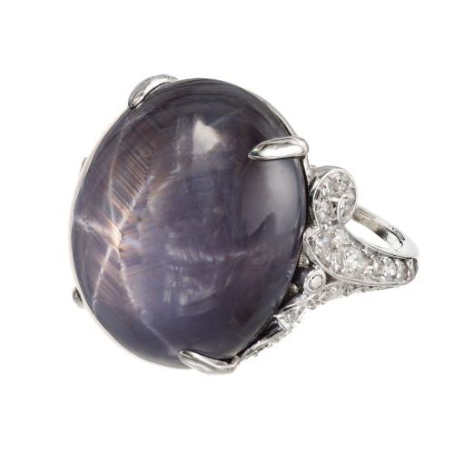 GIA Certified 30.37 Carat Oval Cabochon Star Sapphire Diamond Platinum Ring