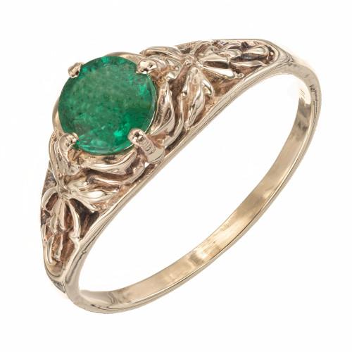 GIA Certified .57 Carat Emerald Yellow Gold Engagement Ring