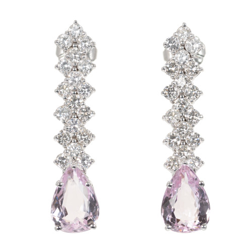 GIA Certified 5.17 Carat Pink Topaz Diamond 18k White Gold Earrings