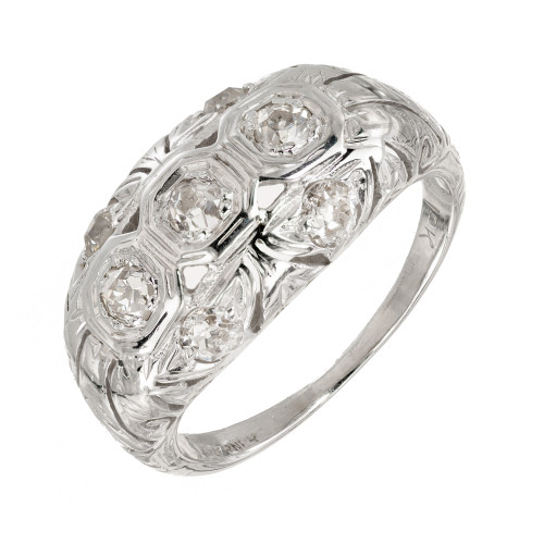 .42 Carat Diamond 18k White Gold Art Deco Dome Engagement Ring
