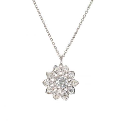 1.58 Carat Diamond Platinum Flower Pendant Necklace