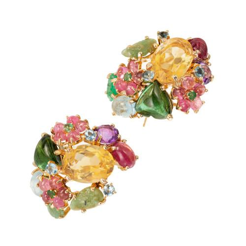 24.40 Carat Citrine Amethyst tourmaline Aqua Emerald Topaz Gold Cluster Earrings