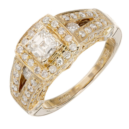 .50 Carat Step Cut Diamond Halo Yellow Gold Engagement Ring