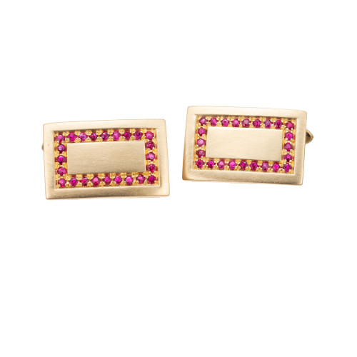 .50 Carat Ruby 18 Karat Yellow Gold Brushed Rectangular Cufflinks