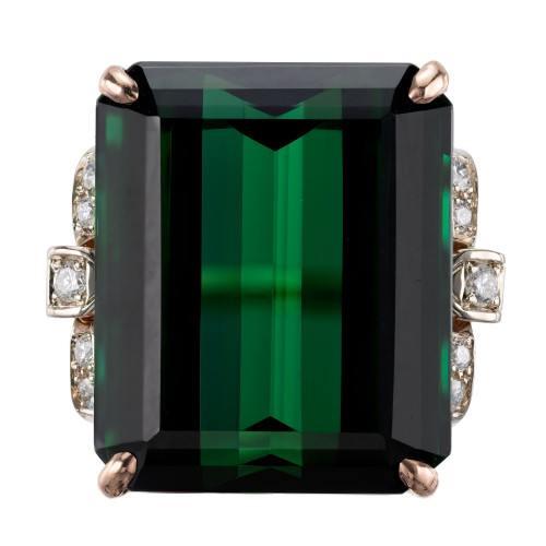 Peter Suchy GIA Certified 34.76 Carat Tourmaline Diamond Gold Cocktail Ring