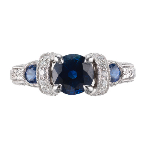 GIA Certified 1.36 Carat Blue Sapphire Diamond Platinum Engagement Ring