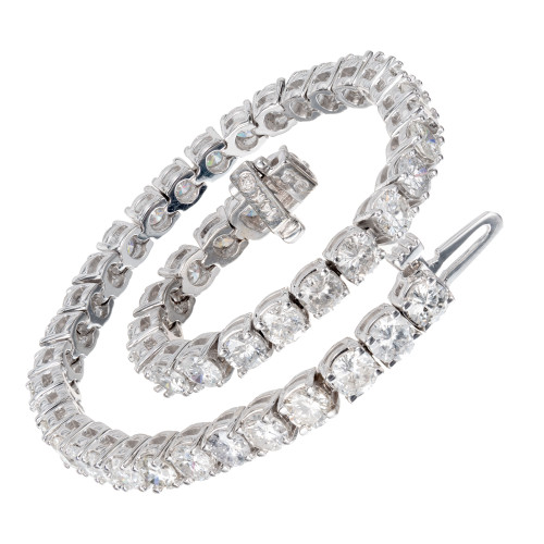 Peter Suchy 7.73 Round Diamond White Gold Tennis Bracelet