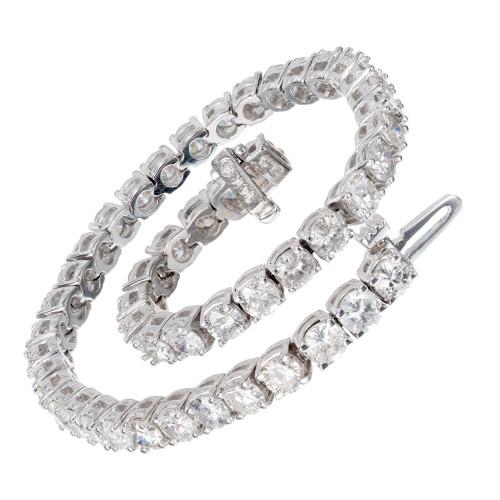Peter Suchy 7.73 Round Diamond White Gold Tennis Bracelet