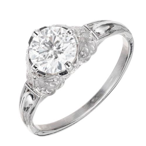Peter Suchy GIA Certified 1.00 Carat Diamond Platinum Engagement Ring
