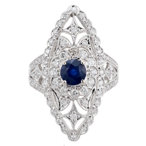 .65 Carat Blue Sapphire Diamond White Gold Cocktail Ring