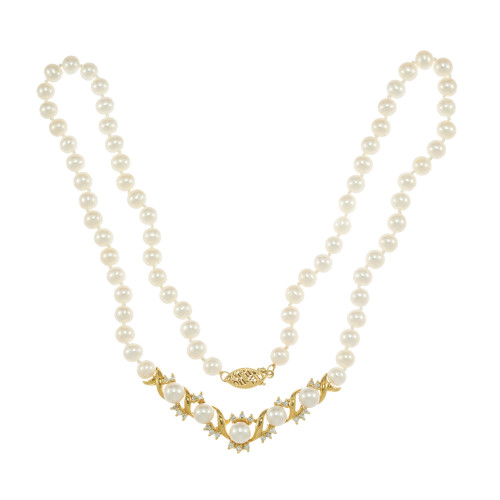Cultured Freshwater Pearl Diamond 14k Yellow Gold Necklace