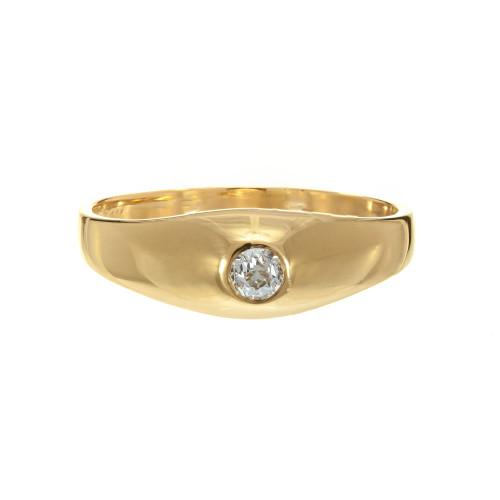 Gypsy Ring 0.11ct Old European Cut Diamond 14K Yellow Gold