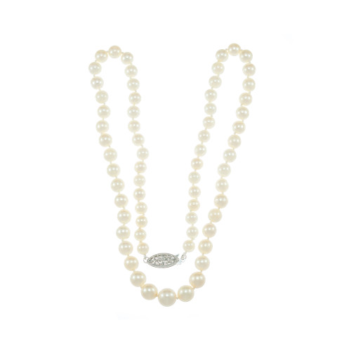 Estate Cultured Pearls Necklace 14K White Gold 20 inches 6 to 9mm Graduated