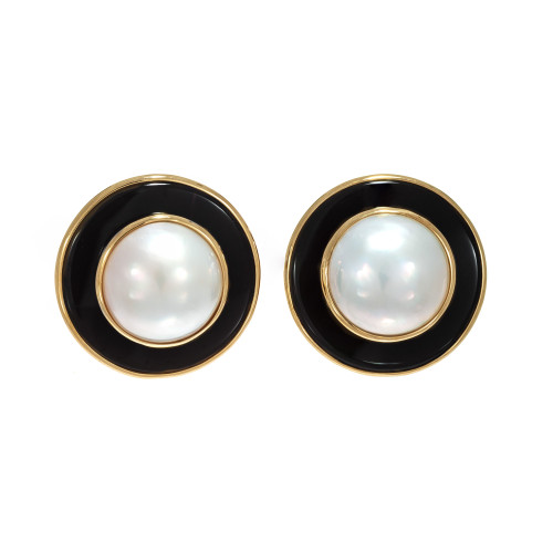 Mabe Pearl Onyx 14K Yellow Gold Clip Post Earrings
