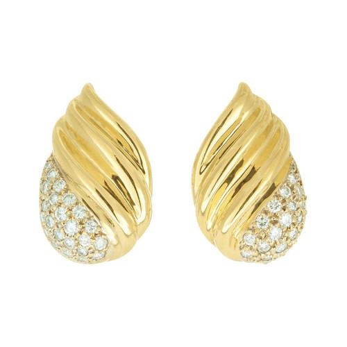 .70 Carat Diamond Yellow Gold Flame Design Earrings
