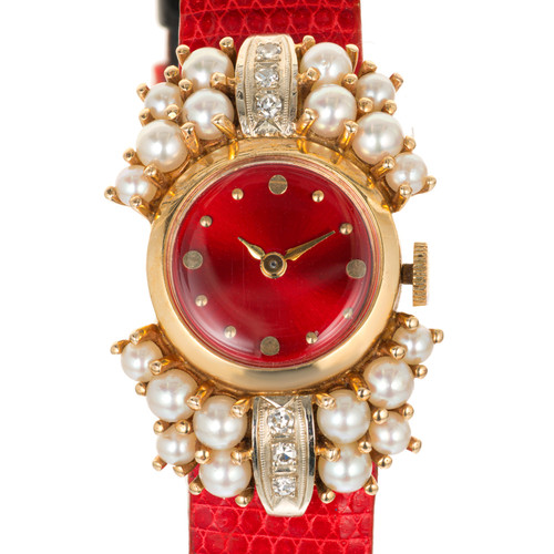 .12 Carat Diamond Pearl Lady In Red 1950 Ladies Wrist Watch